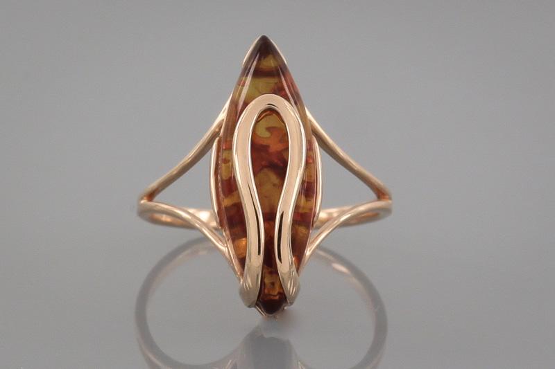 Кольцо Amber 2949 из красного золота 585 пробы с янтарем - YouTube   533x800